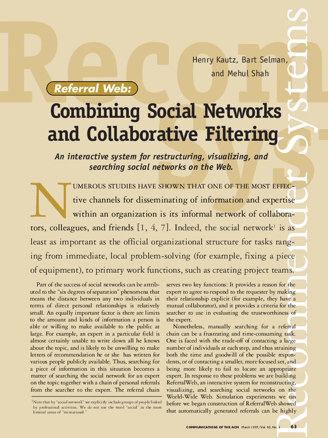 Referral Web Combining Social Networks And Collaborative Filtering Communications Of The Acm Vol 40 No 3