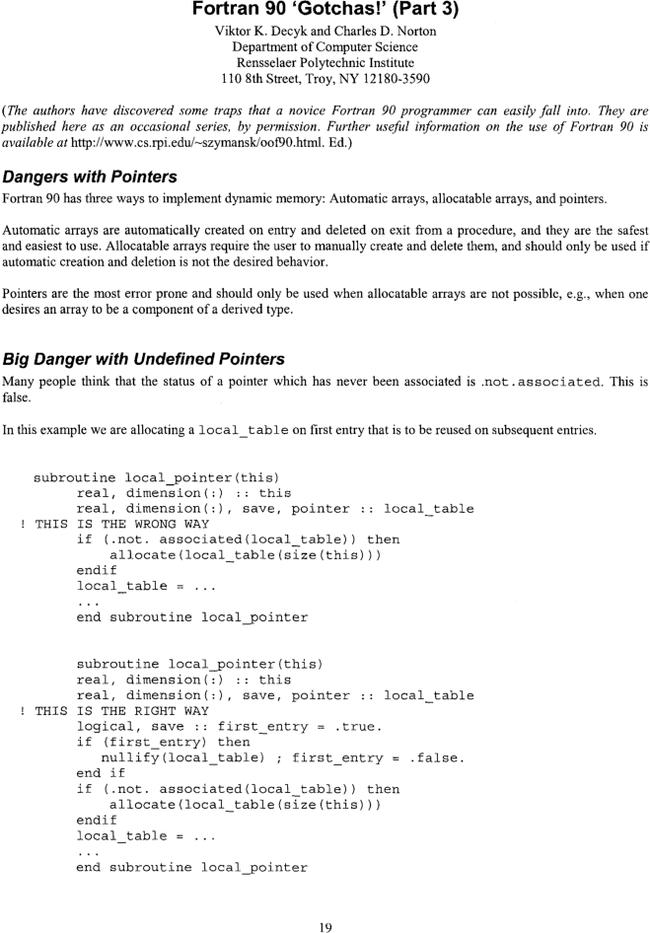 Fortran 90 Gotchas Part 3 Acm Sigplan Fortran Forum