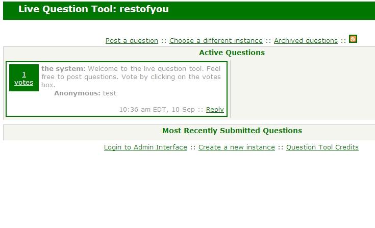 Live Question screenshot