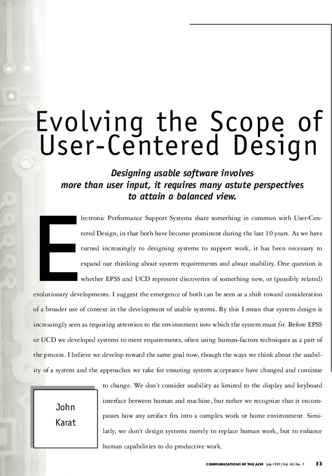 Evolving The Scope Of User Centered Design Communications Of The Acm