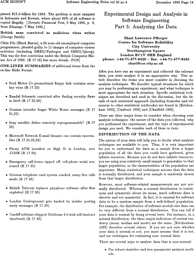 Experimental Design And Analysis In Software Engineering Part 5 Analyzing The Data Acm Sigsoft Software Engineering Notes Vol 20 No 5