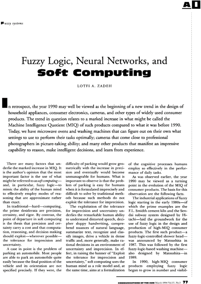 Fuzzy Logic Neural Networks And Soft Computing Communications Of The Acm