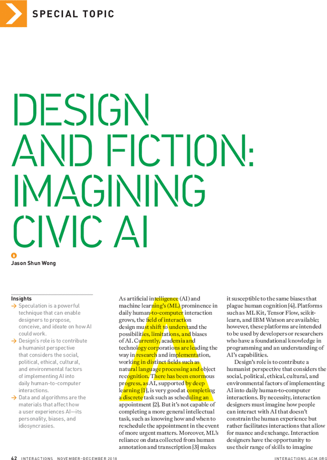 Design And Fiction Imagining Civic Ai Interactions Vol 25 No 6