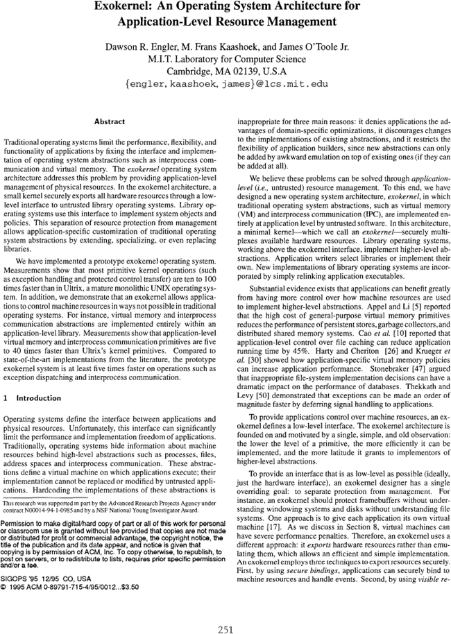 Exokernel An Operating System Architecture For Application Level Resource Management Acm Sigops Operating Systems Review Vol 29 No 5