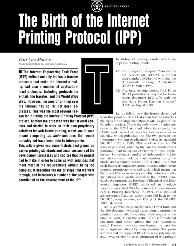 The Birth Of The Internet Printing Protocol Ipp Standardview