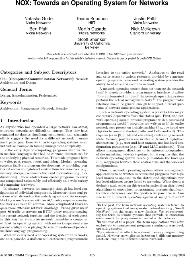 Nox Towards An Operating System For Networks Acm Sigcomm Computer Communication Review Vol 38 No 3