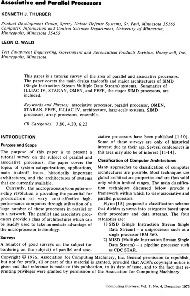 Associative And Parallel Processors Acm Computing Surveys