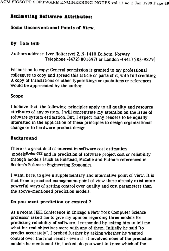 Estimating Software Attributes Some Unconventional Points Of View Acm Sigsoft Software Engineering Notes Vol 11 No 1