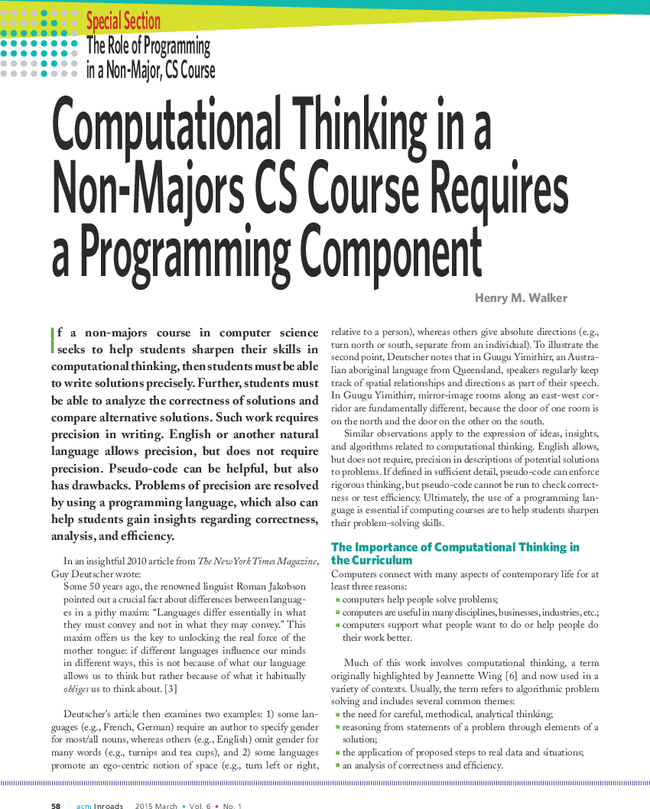 A First Course Thinking as Computation