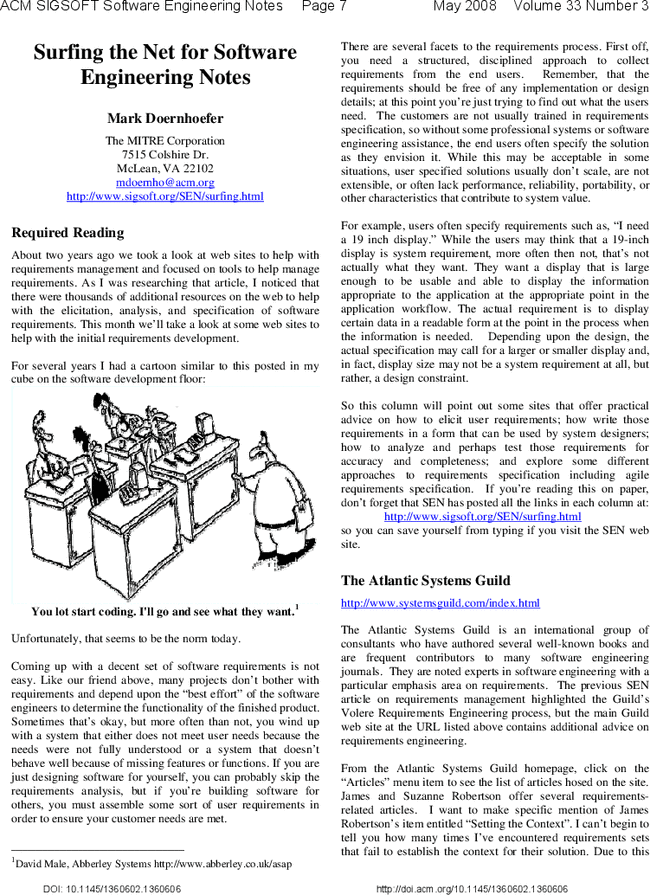 Surfing The Net For Software Engineering Notes Acm Sigsoft Software Engineering Notes