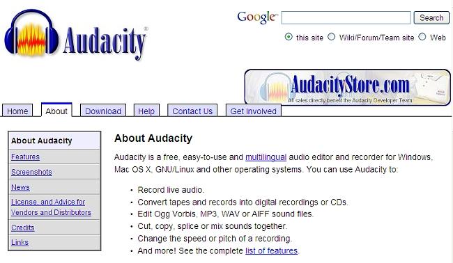 Audacity homepage screen shot